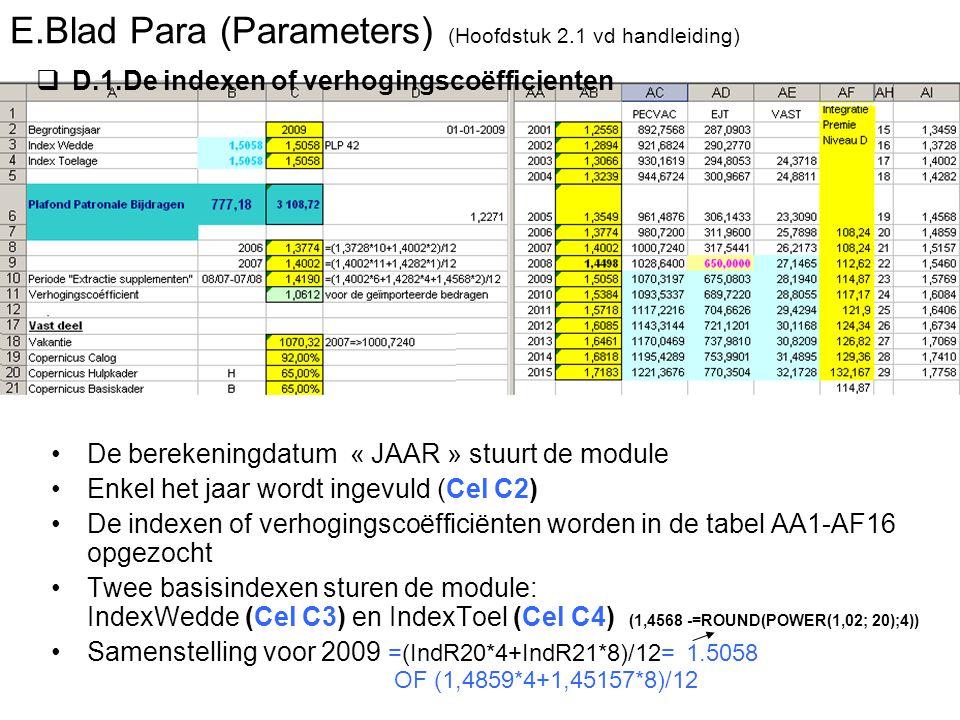 E.Blad Para (Parameters) (Hoofdstuk 2.1 vd handleiding) De berekeningdatum « JAAR » stuurt de module Enkel het jaar wordt ingevuld (Cel C2) De indexen