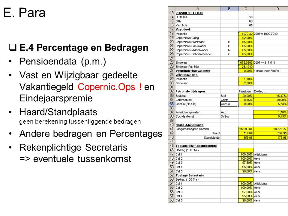 E. Para  E.4 Percentage en Bedragen Pensioendata (p.m.) Vast en Wijzigbaar gedeelte Vakantiegeld Copernic.Ops ! en Eindejaarspremie Haard/Standplaats
