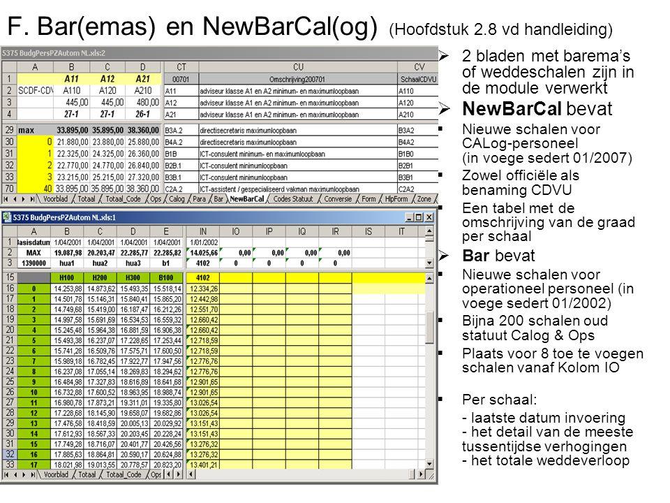 F. Bar(emas) en NewBarCal(og) (Hoofdstuk 2.8 vd handleiding)  2 bladen met barema's of weddeschalen zijn in de module verwerkt  NewBarCal bevat  Ni