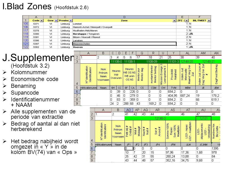 I.Blad Zones (Hoofdstuk 2.6) J.Supplementen (Hoofdstuk 3.2)  Kolomnummer  Economische code  Benaming  Supancode  Identificatienummer + NAAM  All
