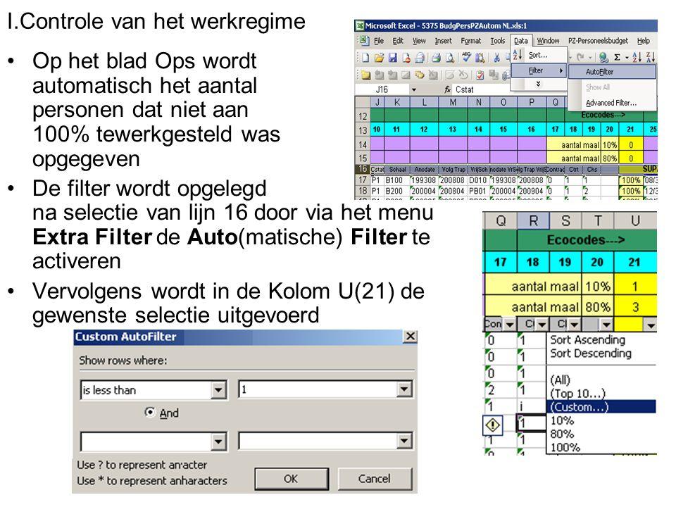 I.Controle van het werkregime Op het blad Ops wordt automatisch het aantal personen dat niet aan 100% tewerkgesteld was opgegeven De filter wordt opge