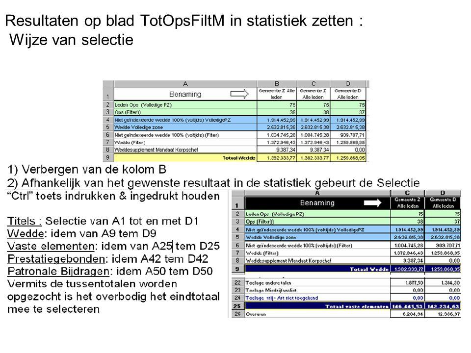 Resultaten op blad TotOpsFiltM in statistiek zetten : Wijze van selectie