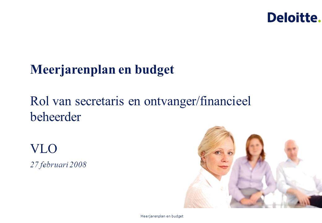 Meerjarenplan en budget Meerjarenplan en budget Rol van secretaris en ontvanger/financieel beheerder VLO 27 februari 2008