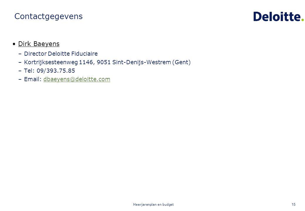 Meerjarenplan en budget 15 Contactgegevens Dirk Baeyens –Director Deloitte Fiduciaire –Kortrijksesteenweg 1146, 9051 Sint-Denijs-Westrem (Gent) –Tel: