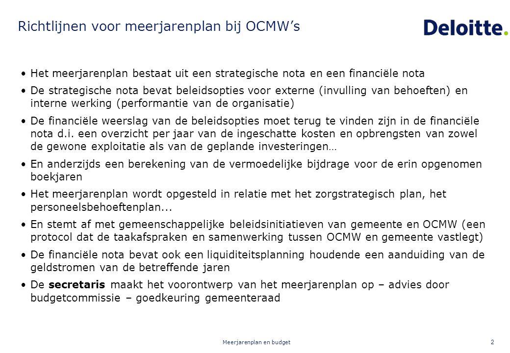 Meerjarenplan en budget 2 Richtlijnen voor meerjarenplan bij OCMW's Het meerjarenplan bestaat uit een strategische nota en een financiële nota De stra