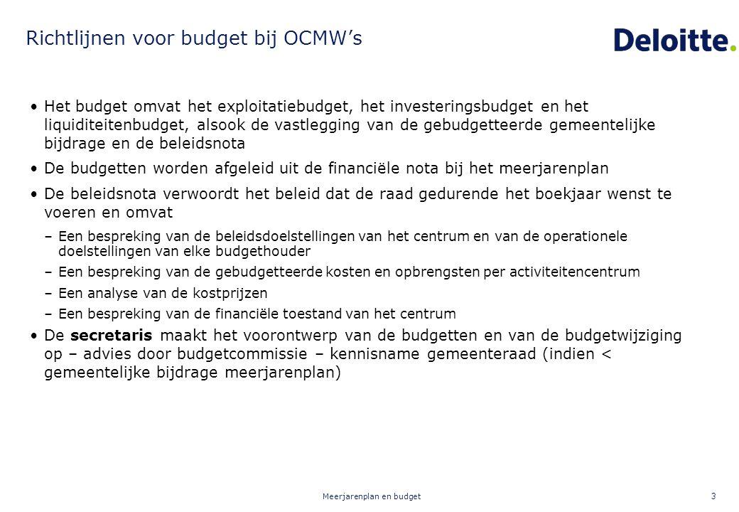 Meerjarenplan en budget 3 Richtlijnen voor budget bij OCMW's Het budget omvat het exploitatiebudget, het investeringsbudget en het liquiditeitenbudget