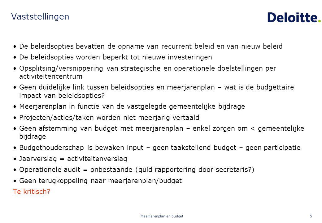Meerjarenplan en budget 5 Vaststellingen De beleidsopties bevatten de opname van recurrent beleid en van nieuw beleid De beleidsopties worden beperkt