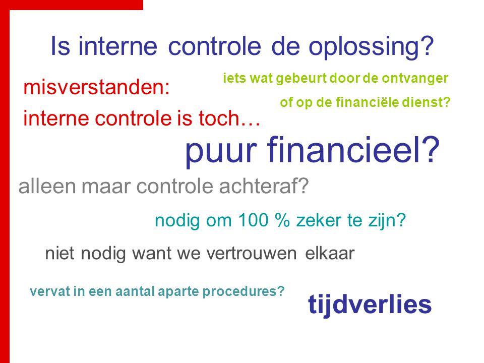 Is interne controle de oplossing? misverstanden: interne controle is toch… puur financieel? nodig om 100 % zeker te zijn? iets wat gebeurt door de ont