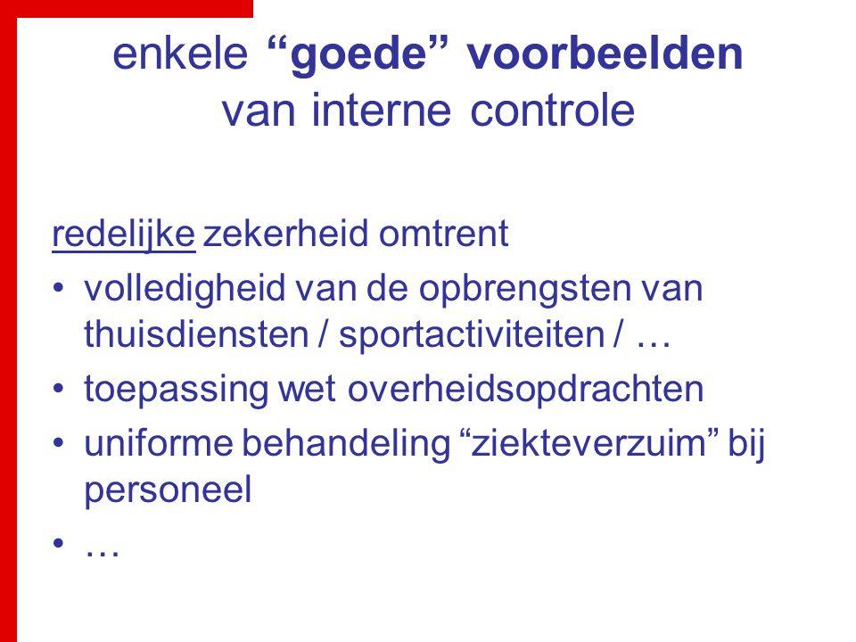 """enkele """"goede"""" voorbeelden van interne controle redelijke zekerheid omtrent volledigheid van de opbrengsten van thuisdiensten / sportactiviteiten / …"""
