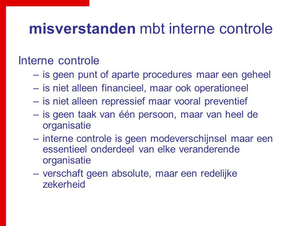 misverstanden mbt interne controle Interne controle –is geen punt of aparte procedures maar een geheel –is niet alleen financieel, maar ook operatione