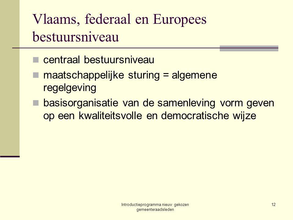Introductieprogramma nieuw gekozen gemeenteraadsleden 12 Vlaams, federaal en Europees bestuursniveau centraal bestuursniveau maatschappelijke sturing