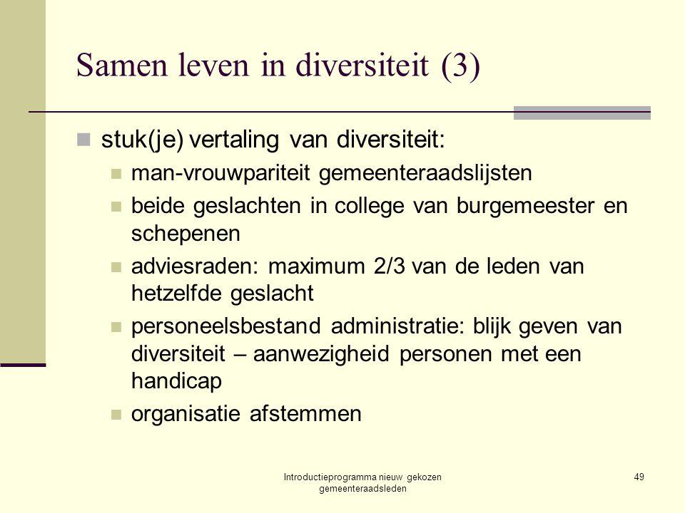 Introductieprogramma nieuw gekozen gemeenteraadsleden 49 Samen leven in diversiteit (3) stuk(je) vertaling van diversiteit: man-vrouwpariteit gemeente