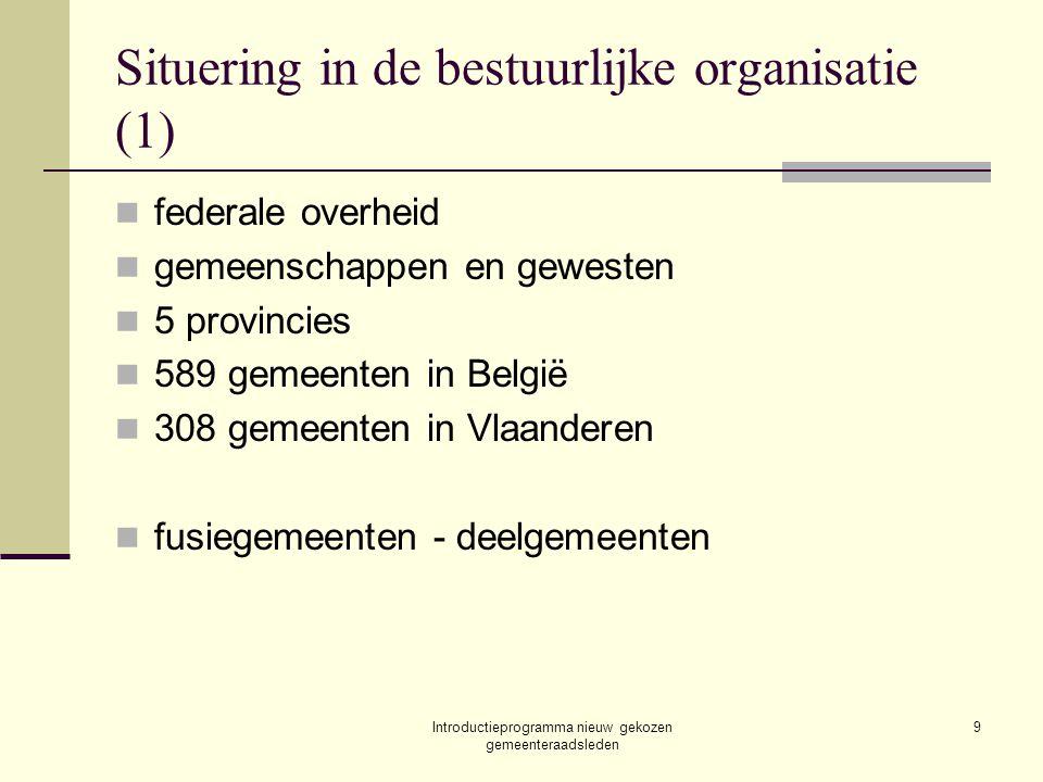 Introductieprogramma nieuw gekozen gemeenteraadsleden 9 Situering in de bestuurlijke organisatie (1) federale overheid gemeenschappen en gewesten 5 pr