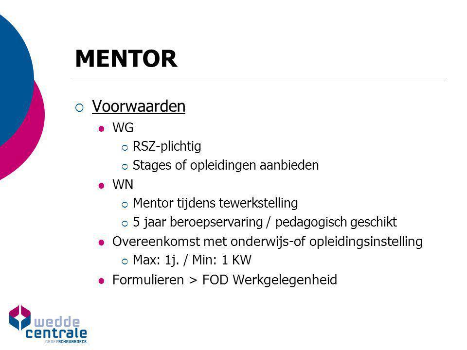 MENTOR  Voorwaarden WG  RSZ-plichtig  Stages of opleidingen aanbieden WN  Mentor tijdens tewerkstelling  5 jaar beroepservaring / pedagogisch ges