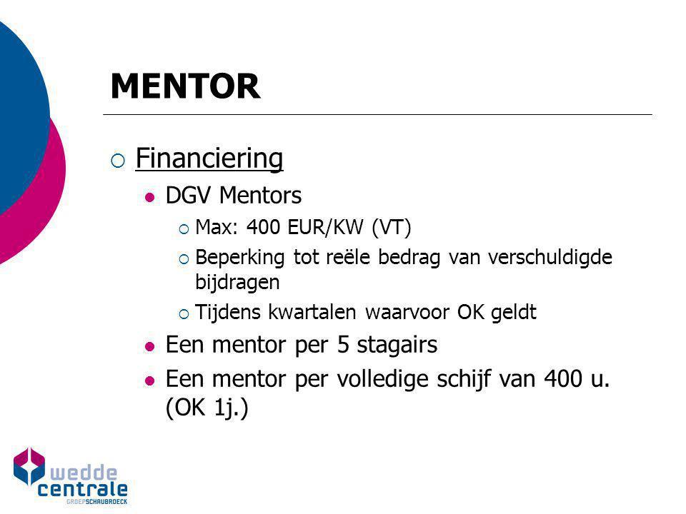 MENTOR  Financiering DGV Mentors  Max: 400 EUR/KW (VT)  Beperking tot reële bedrag van verschuldigde bijdragen  Tijdens kwartalen waarvoor OK geld