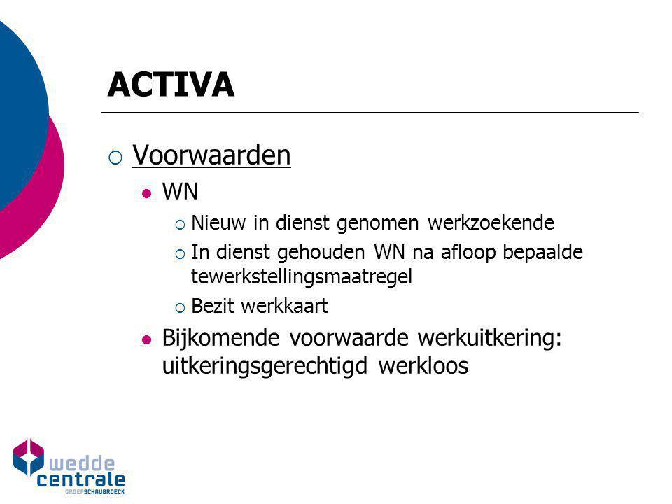 ACTIVA  Financiering Vermindering RSZ : DGV langdurig werkzoekenden  1.000 EUR per KW  400 EUR per KW  Voltijds, volledige kwartaalprestaties Tussenkomst in nettoloon WN: werkuitkering  Berekening (NIEUW!) Vermenigvuldiging basisbedrag (500 / 750, 1.000, 1.100) Met breuk  Noemer: uren VT WN (S) x 4  Teller: uren waarvoor loon is verschuldigd in beschouwde kalendermaand