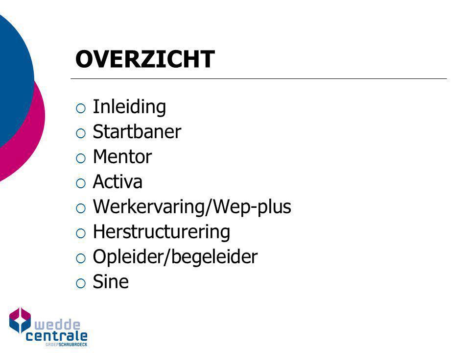 OVERZICHT  Inleiding  Startbaner  Mentor  Activa  Werkervaring/Wep-plus  Herstructurering  Opleider/begeleider  Sine