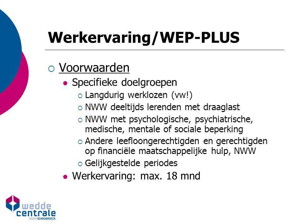 Werkervaring/WEP-PLUS  Voorwaarden Specifieke doelgroepen  Langdurig werklozen (vw!)  NWW deeltijds lerenden met draaglast  NWW met psychologische