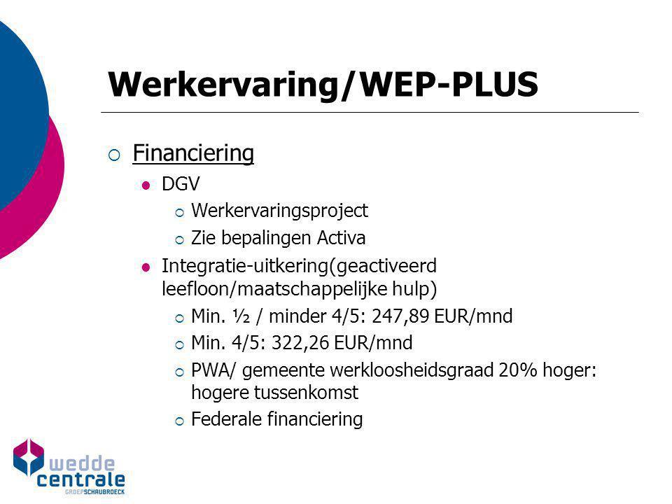 Werkervaring/WEP-PLUS Tew ½, minder 4/5 Tew 4/5, minder VT VT Loonpremie (< VDAB) 8.950 EUR14.320 EUR17.900 EUR Omkaderingspr emie (< Vlaamse Gewest) 25% van 8.950 EUR 25% van 14.320 EUR 25% van 17.900 EUR Aanvullende omkaderingspre mie 1.000 EUR1.600 EUR2.000 EUR Inschakelingsve rgoeding 1.500 EUR2.400 EUR3.000 EUR Nazorgvergoedi ng 1.000 EUR
