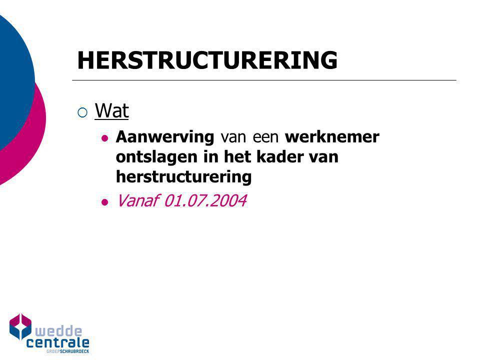 HERSTRUCTURERING  Wat Aanwerving van een werknemer ontslagen in het kader van herstructurering Vanaf 01.07.2004