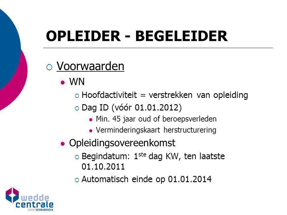 OPLEIDER - BEGELEIDER  Voorwaarden WN  Hoofdactiviteit = verstrekken van opleiding  Dag ID (vóór 01.01.2012) Min. 45 jaar oud of beroepsverleden Ve