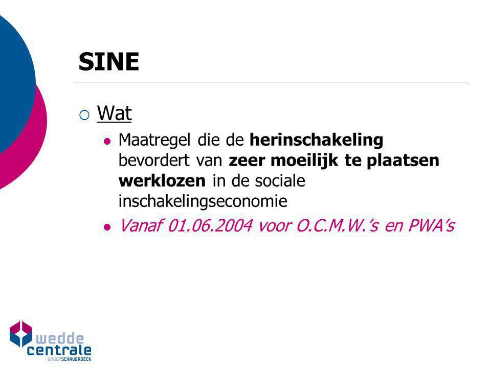 SINE  Wat Maatregel die de herinschakeling bevordert van zeer moeilijk te plaatsen werklozen in de sociale inschakelingseconomie Vanaf 01.06.2004 voo