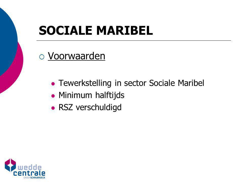 SOCIALE MARIBEL  Voorwaarden Tewerkstelling in sector Sociale Maribel Minimum halftijds RSZ verschuldigd