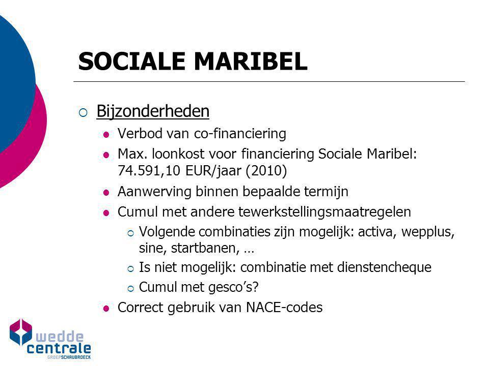 SOCIALE MARIBEL  Bijzonderheden Verbod van co-financiering Max. loonkost voor financiering Sociale Maribel: 74.591,10 EUR/jaar (2010) Aanwerving binn