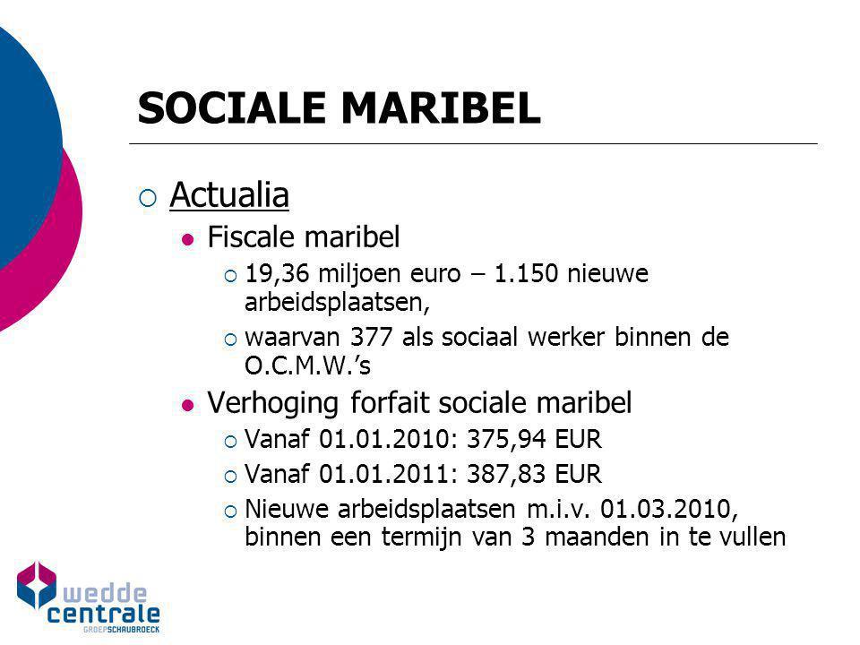 SOCIALE MARIBEL  Actualia Fiscale maribel  19,36 miljoen euro – 1.150 nieuwe arbeidsplaatsen,  waarvan 377 als sociaal werker binnen de O.C.M.W.'s