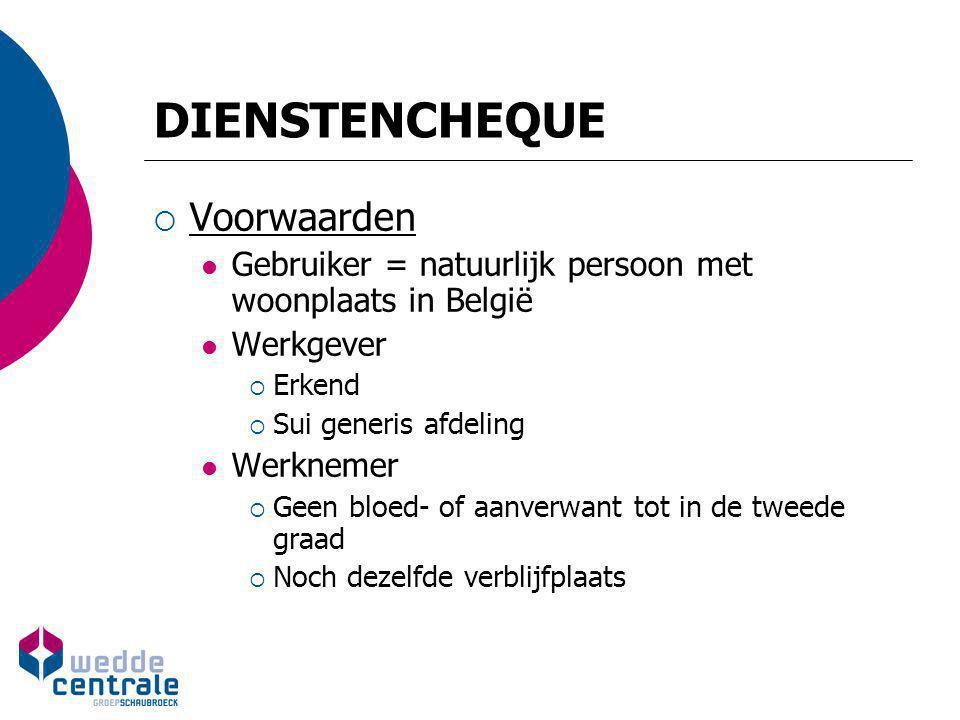 DIENSTENCHEQUE  Voorwaarden Gebruiker = natuurlijk persoon met woonplaats in België Werkgever  Erkend  Sui generis afdeling Werknemer  Geen bloed-