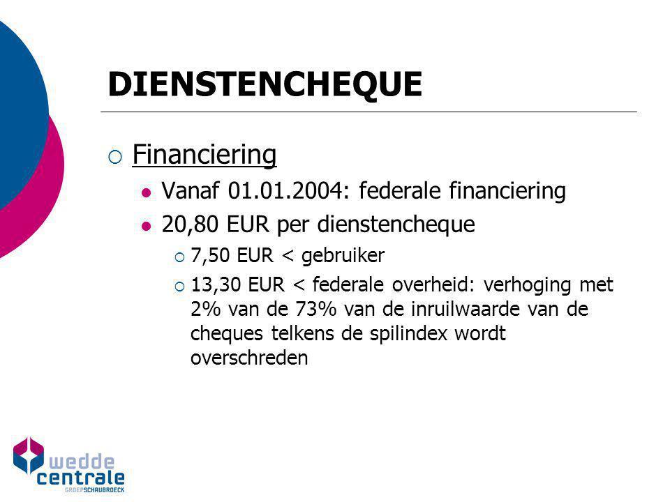 DIENSTENCHEQUE  Financiering Vanaf 01.01.2004: federale financiering 20,80 EUR per dienstencheque  7,50 EUR < gebruiker  13,30 EUR < federale overh