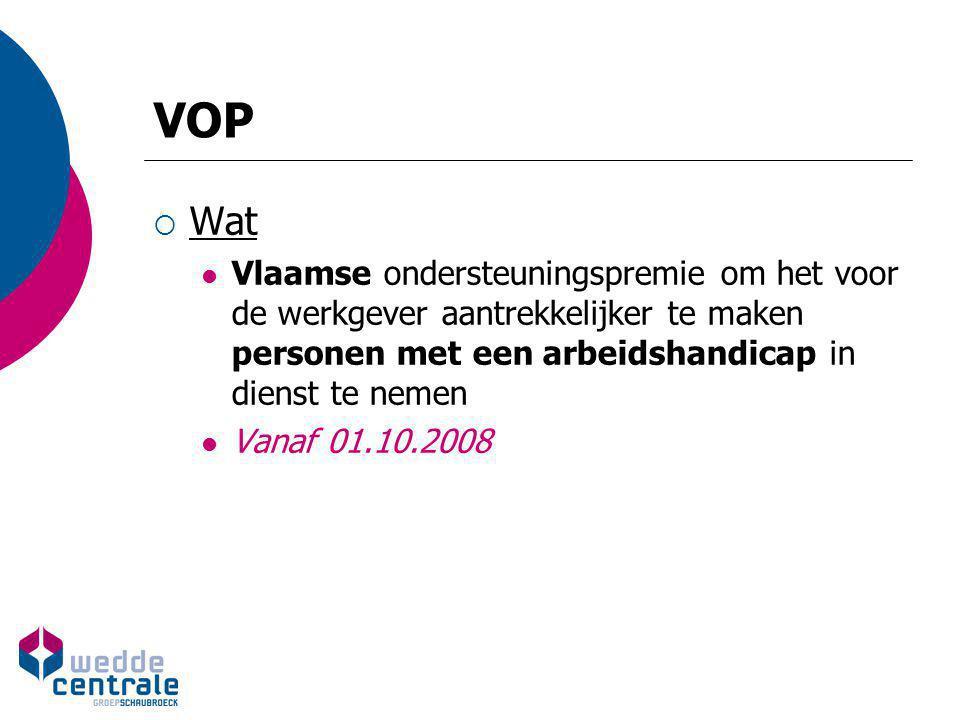 VOP  Wat Vlaamse ondersteuningspremie om het voor de werkgever aantrekkelijker te maken personen met een arbeidshandicap in dienst te nemen Vanaf 01.