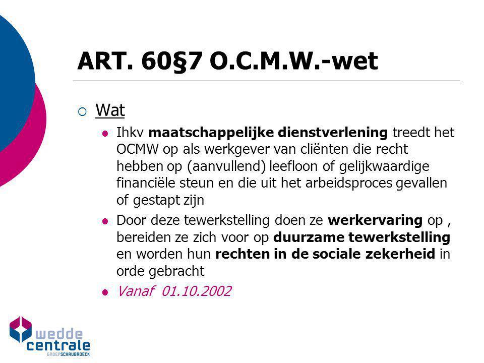ART. 60§7 O.C.M.W.-wet  Wat Ihkv maatschappelijke dienstverlening treedt het OCMW op als werkgever van cliënten die recht hebben op (aanvullend) leef