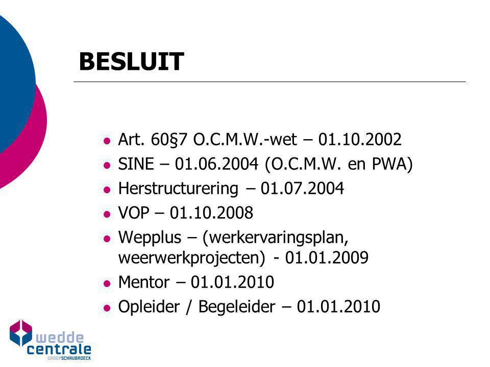 BESLUIT Art. 60§7 O.C.M.W.-wet – 01.10.2002 SINE – 01.06.2004 (O.C.M.W. en PWA) Herstructurering – 01.07.2004 VOP – 01.10.2008 Wepplus – (werkervaring
