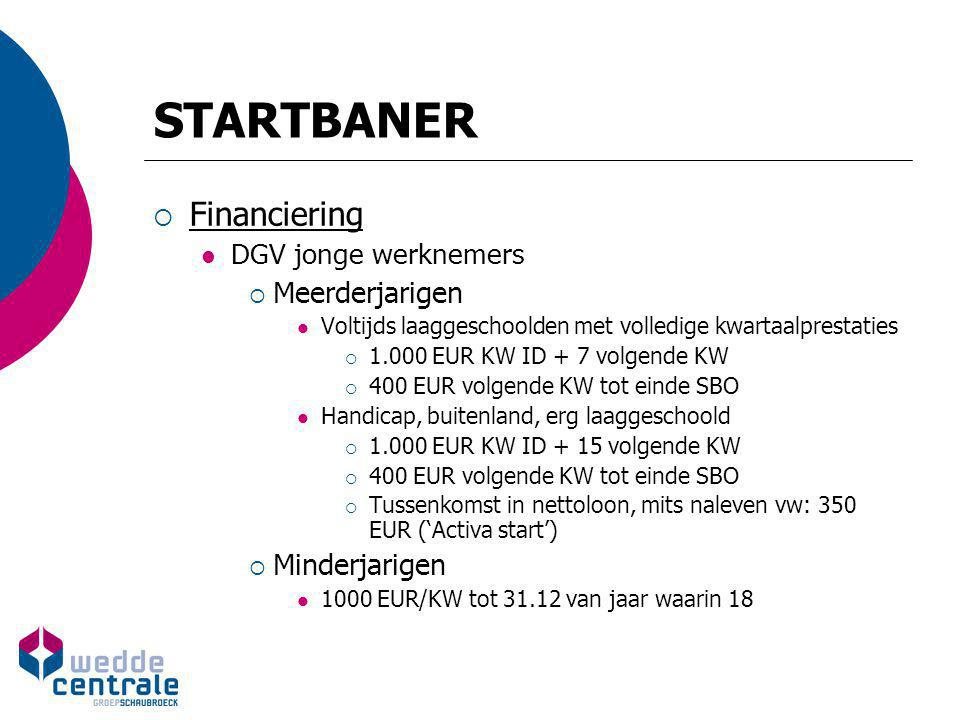 STARTBANER  Financiering DGV jonge werknemers  Meerderjarigen Voltijds laaggeschoolden met volledige kwartaalprestaties  1.000 EUR KW ID + 7 volgen