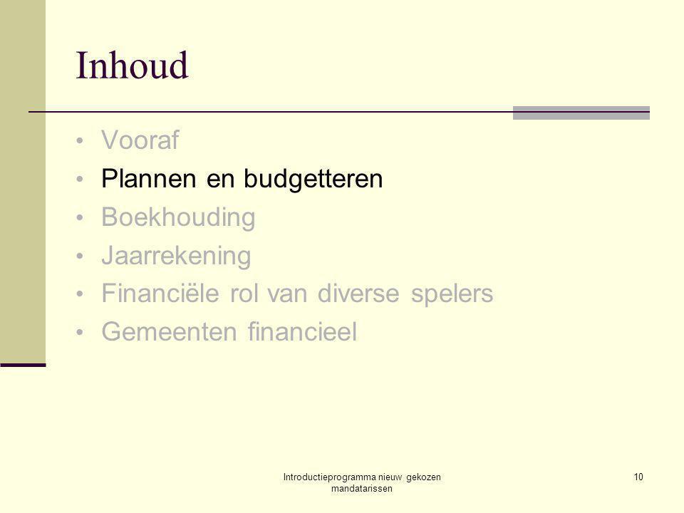 Introductieprogramma nieuw gekozen mandatarissen 10 Inhoud Vooraf Plannen en budgetteren Boekhouding Jaarrekening Financiële rol van diverse spelers Gemeenten financieel
