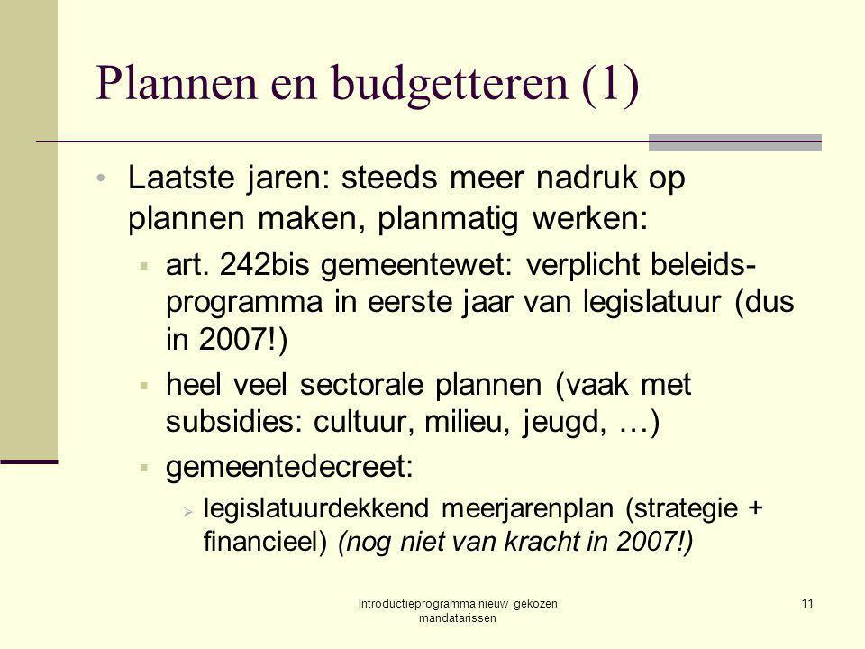 Introductieprogramma nieuw gekozen mandatarissen 11 Plannen en budgetteren (1) Laatste jaren: steeds meer nadruk op plannen maken, planmatig werken:  art.