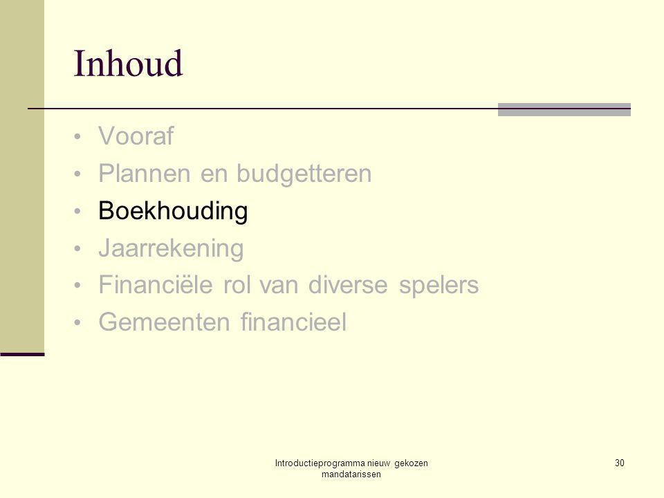 Introductieprogramma nieuw gekozen mandatarissen 30 Inhoud Vooraf Plannen en budgetteren Boekhouding Jaarrekening Financiële rol van diverse spelers Gemeenten financieel