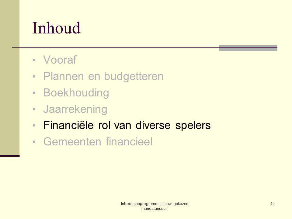 Introductieprogramma nieuw gekozen mandatarissen 40 Inhoud Vooraf Plannen en budgetteren Boekhouding Jaarrekening Financiële rol van diverse spelers Gemeenten financieel