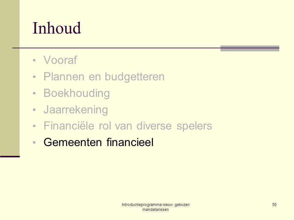 Introductieprogramma nieuw gekozen mandatarissen 50 Inhoud Vooraf Plannen en budgetteren Boekhouding Jaarrekening Financiële rol van diverse spelers Gemeenten financieel