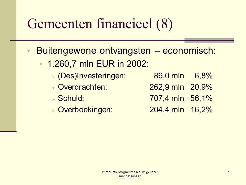 Introductieprogramma nieuw gekozen mandatarissen 58 Gemeenten financieel (8) Buitengewone ontvangsten – economisch:  1.260,7 mln EUR in 2002:  (Des)Investeringen:86,0 mln6,8%  Overdrachten:262,9 mln20,9%  Schuld:707,4 mln56,1%  Overboekingen:204,4 mln16,2%