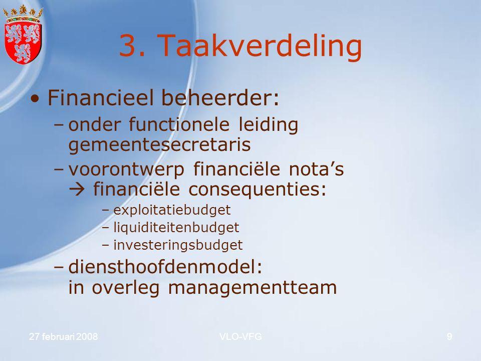 27 februari 2008VLO-VFG9 3. Taakverdeling Financieel beheerder: –onder functionele leiding gemeentesecretaris –voorontwerp financiële nota's  financi