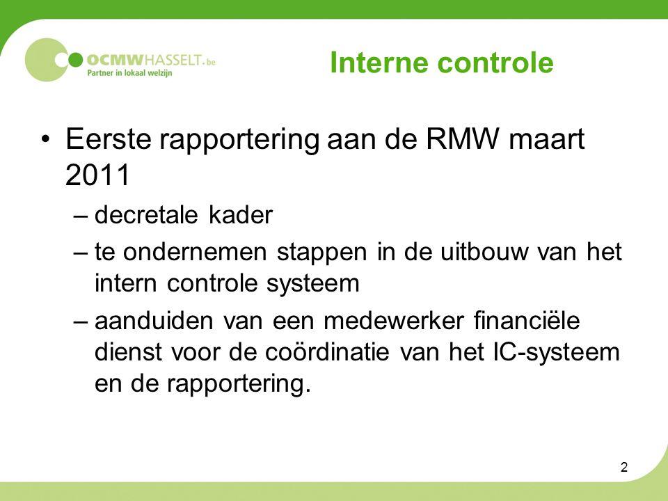 Interne controle Eerste rapportering aan de RMW maart 2011 –decretale kader –te ondernemen stappen in de uitbouw van het intern controle systeem –aanduiden van een medewerker financiële dienst voor de coördinatie van het IC-systeem en de rapportering.