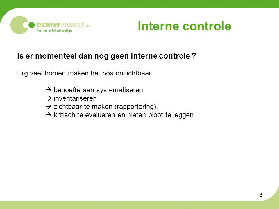 3 Interne controle Is er momenteel dan nog geen interne controle .