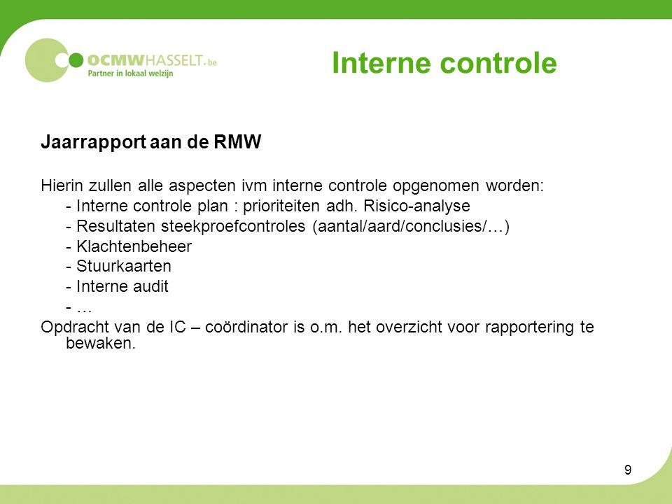 9 Interne controle Jaarrapport aan de RMW Hierin zullen alle aspecten ivm interne controle opgenomen worden: - Interne controle plan : prioriteiten adh.