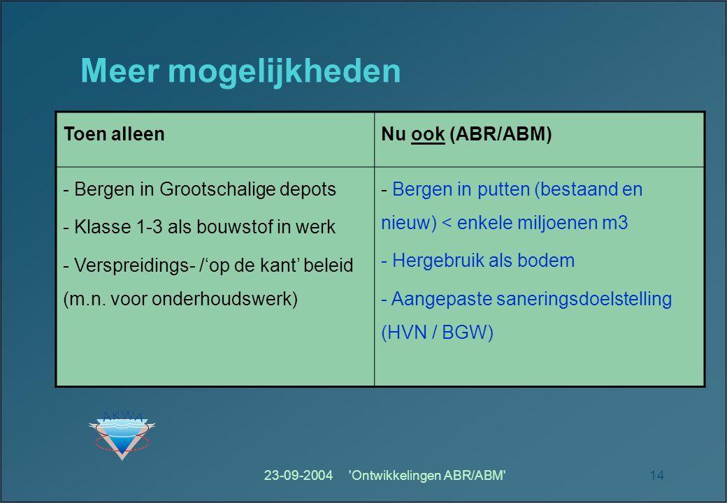 23-09-2004 Ontwikkelingen ABR/ABM 14 Meer mogelijkheden Toen alleenNu ook (ABR/ABM) - Bergen in Grootschalige depots - Klasse 1-3 als bouwstof in werk - Verspreidings- /'op de kant' beleid (m.n.