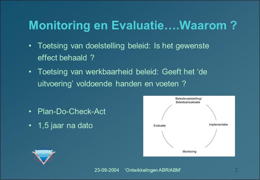 23-09-2004 Ontwikkelingen ABR/ABM 2 Monitoring en Evaluatie….Waarom .