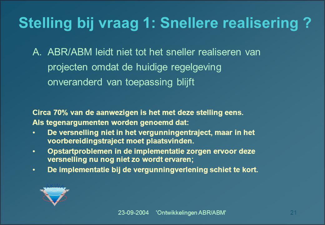 23-09-2004 Ontwikkelingen ABR/ABM 21 Stelling bij vraag 1: Snellere realisering .