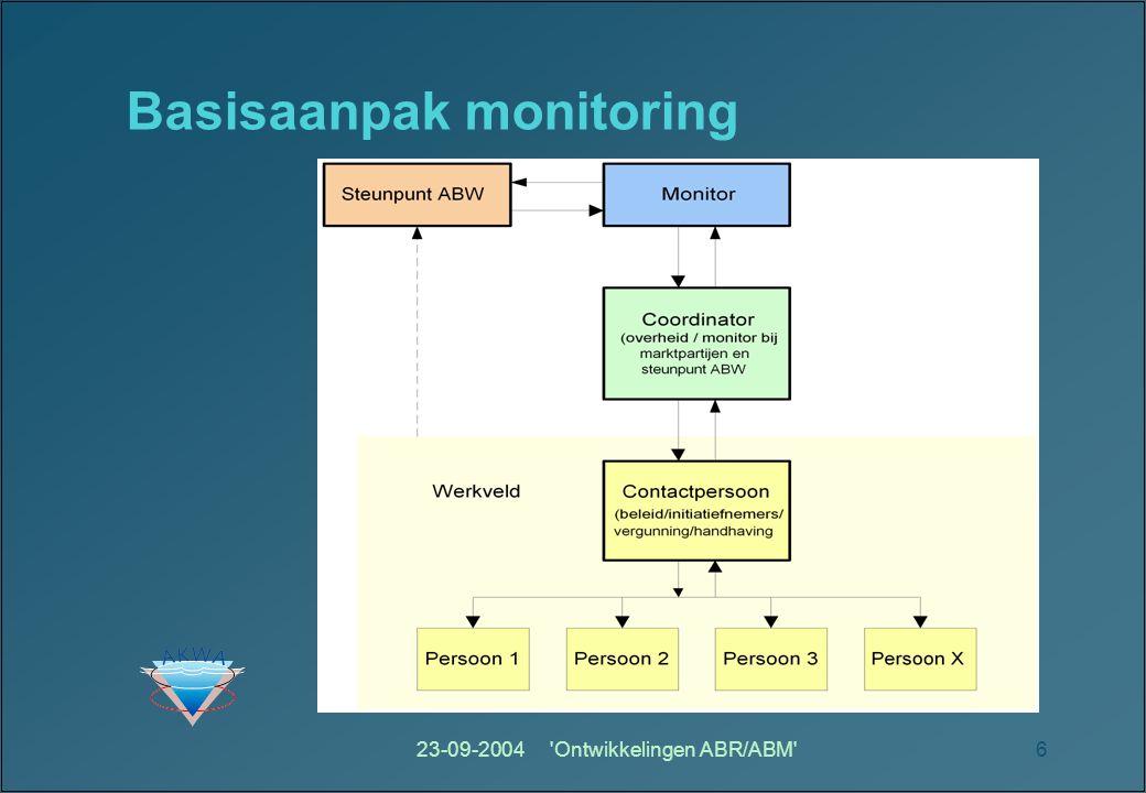 23-09-2004 Ontwikkelingen ABR/ABM 6 Basisaanpak monitoring