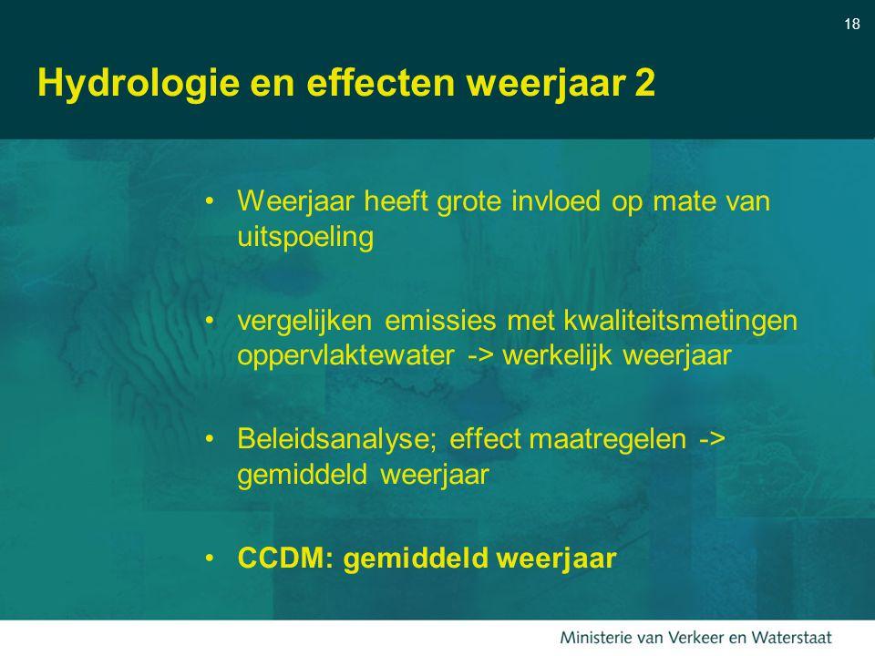 18 Hydrologie en effecten weerjaar 2 Weerjaar heeft grote invloed op mate van uitspoeling vergelijken emissies met kwaliteitsmetingen oppervlaktewater